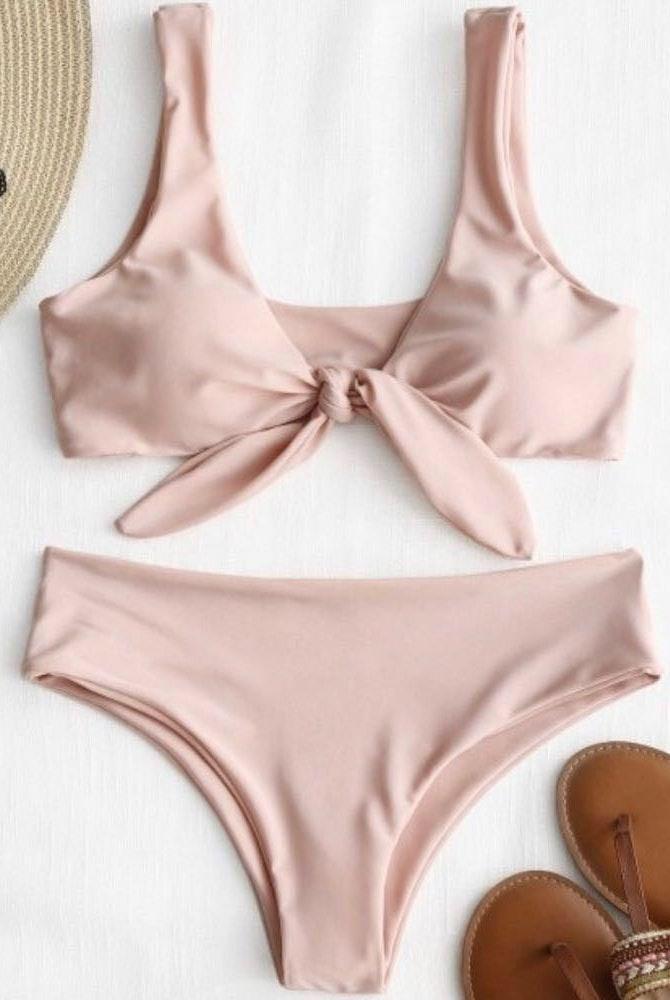 Zaful Pink Tie Bikini
