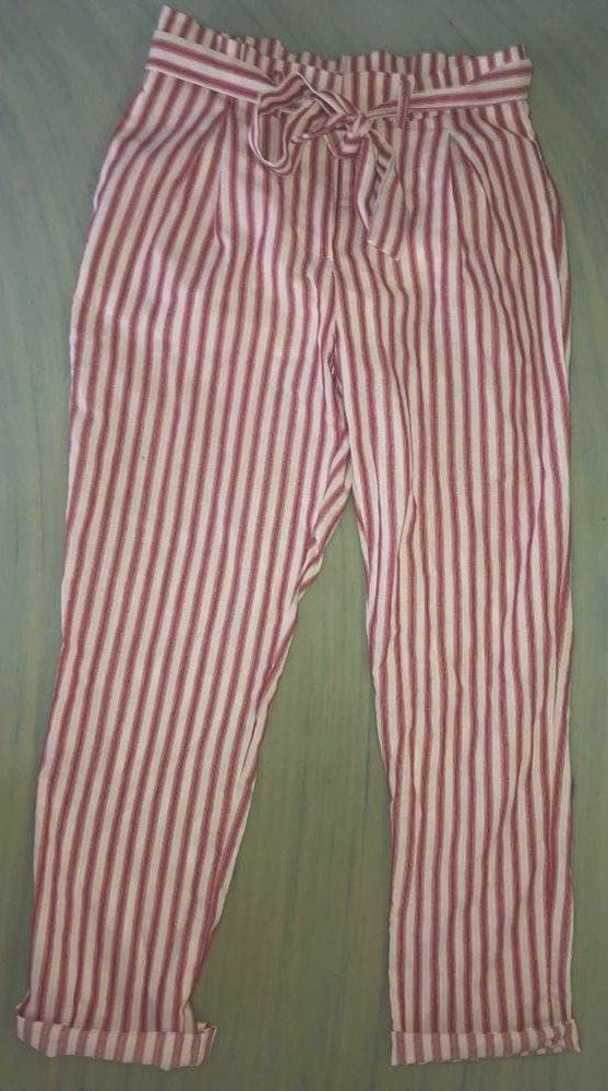 DO+BE Red Striped Peplum Pants