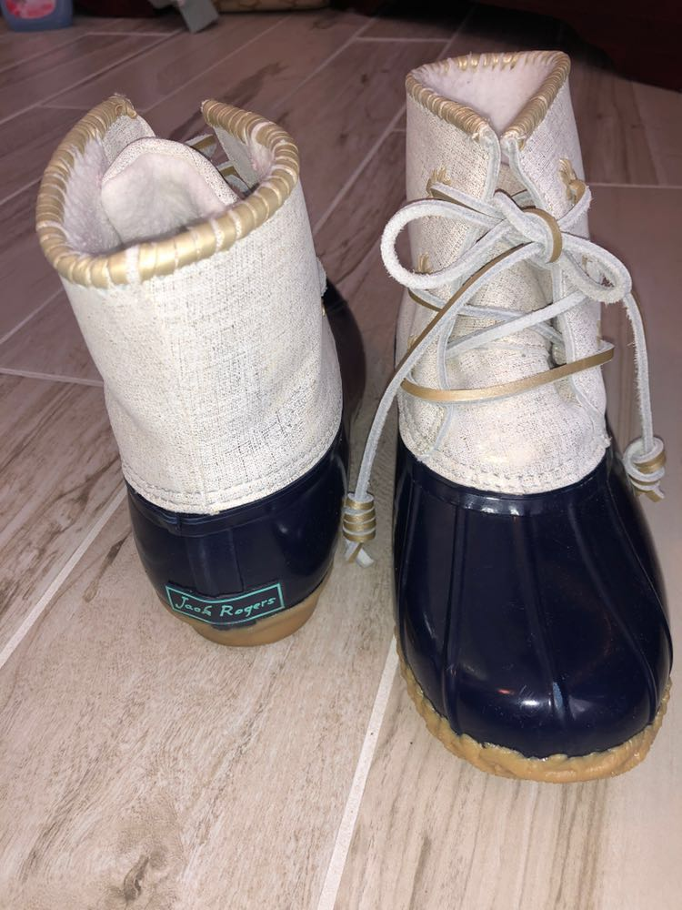 Jack Rogers Chloe Midnight Navy Spring Gold Fleece Lined Duck Rain Snow Boots