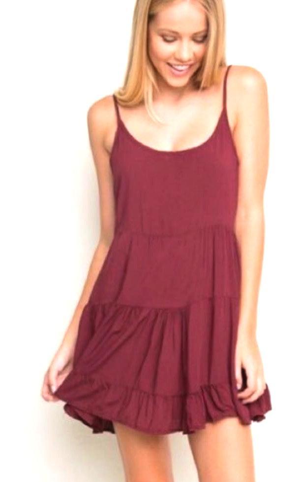 Brandy Melville Jada Dress Maroon