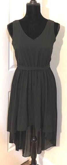 As U Wish EUC  Elegant Black V-Neck Flowing Chiffon High Low Dress..Size Small..Ribbed from Waist Fading to Solid on the High Low..Tie Chiffon Belt to Tie on the Side..Beautiful Back Cut Design! See all Photos..Simple & yet an Exquisitely Beautiful Dress🌹Size S