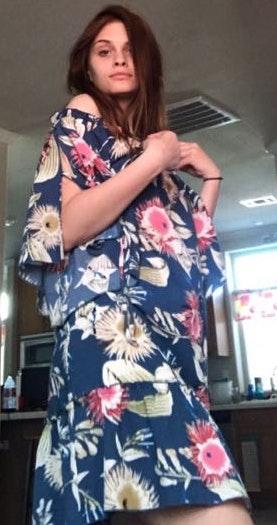 Umgee Off The Shoulder Blue Floral Dress