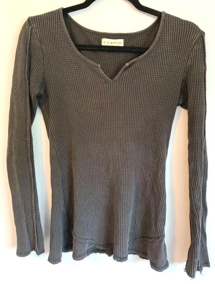 If It Were Me Grey Waffle Knit Free People Inspired Top