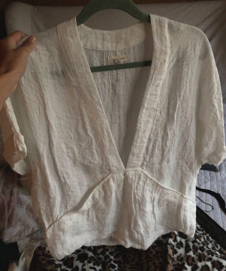 Urban Outfitters Deep V White Blouse