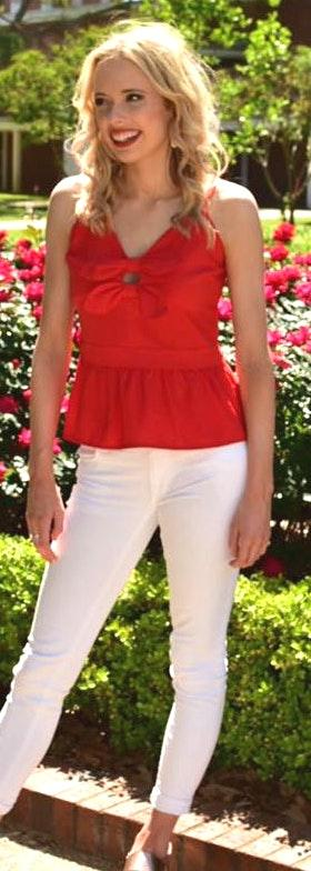 Sugar and L!ps Red Peplum Top