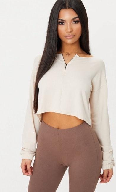 Pretty Little Thing Cream Front Zip Cropped Sweater