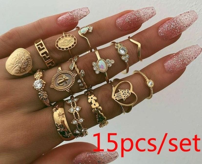 Independent 15 Pc Boho Love Midi Rings Set, Gold
