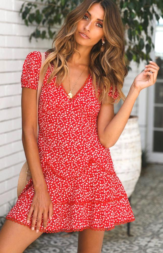 Hello Molly Floral Red Sun Dress