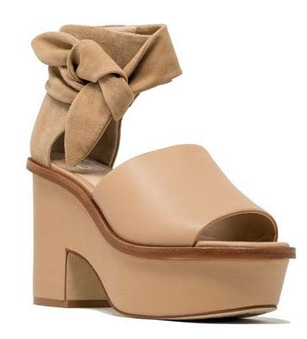 M4DE Leather Wedge with Suede wrap around
