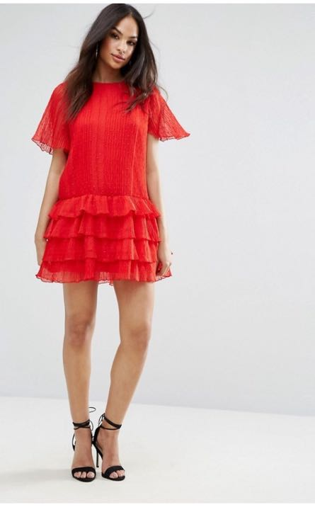 Missguided Red Ruffle Dress