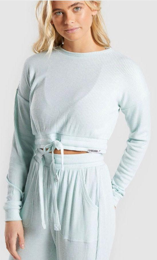 Gymshark Seafoam Green Tie Relaxed Sweater