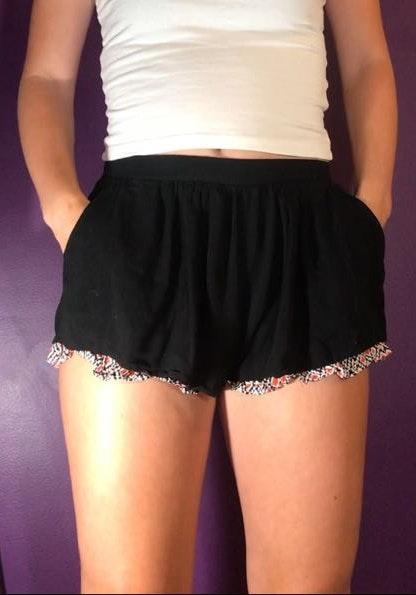Umgee Black Flowy Shorts