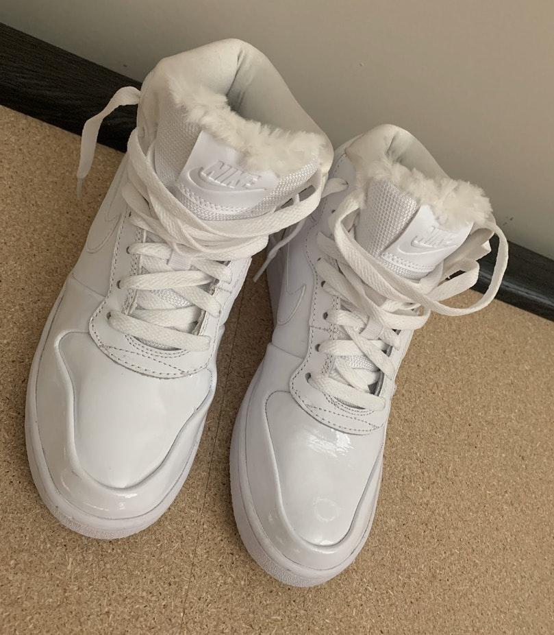 Nike White Hightops With Fur Tongue