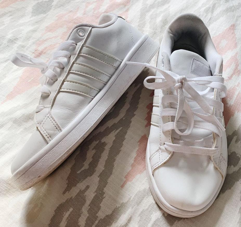 Adidas White Iridescent Cloudfoam Sneakers