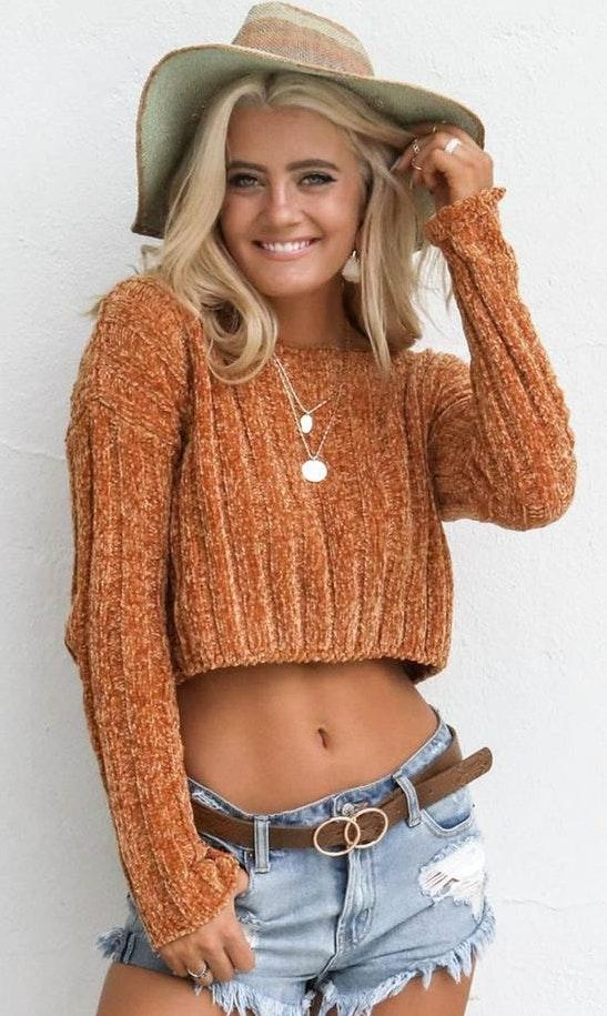 Amazing Lace orange crop sweater