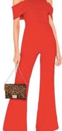 by the way. Red Off The Shoulder Jumpsuit