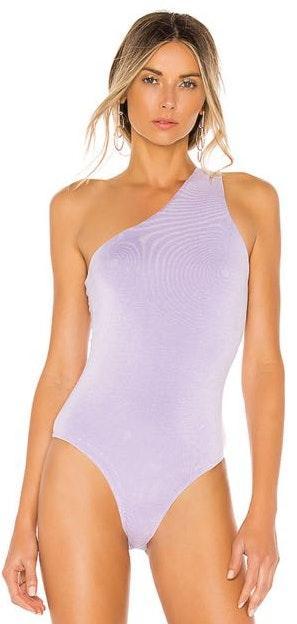 superdown Lavender One Shoulder Bodysuit