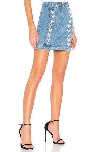Revolve Lace Up Denim Skirt