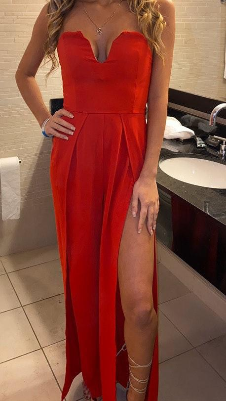 Revolve Red Jumpsuit With Slit