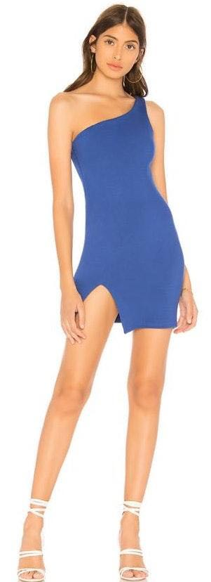 by the way. One Shoulder Blue Dress