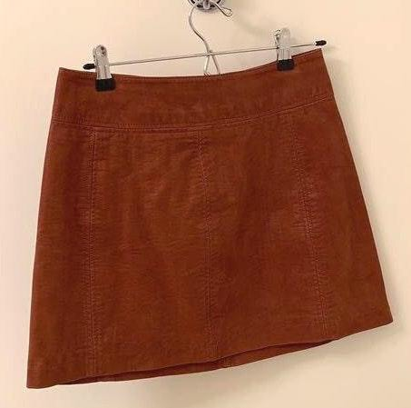 Free People Mini Skirt- Brown Leather