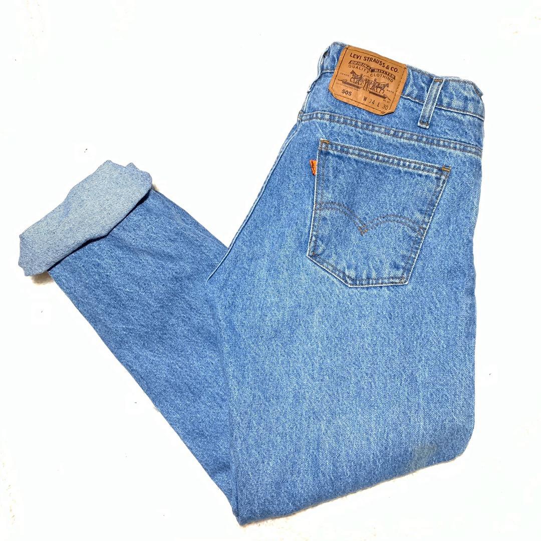 Levi's Vintage  505 Orange Tab Denim Mom Jeans High Waisted VSCO W 34