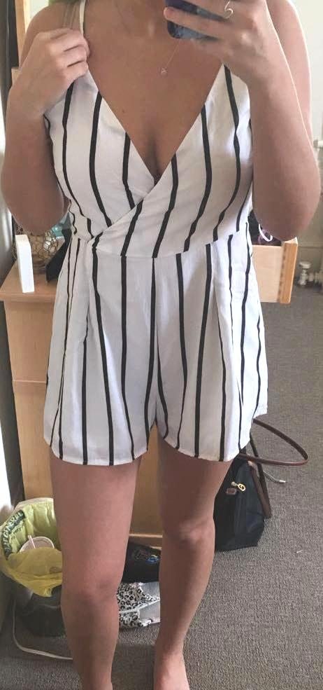 Boohoo Black & White Striped Surplice Romper