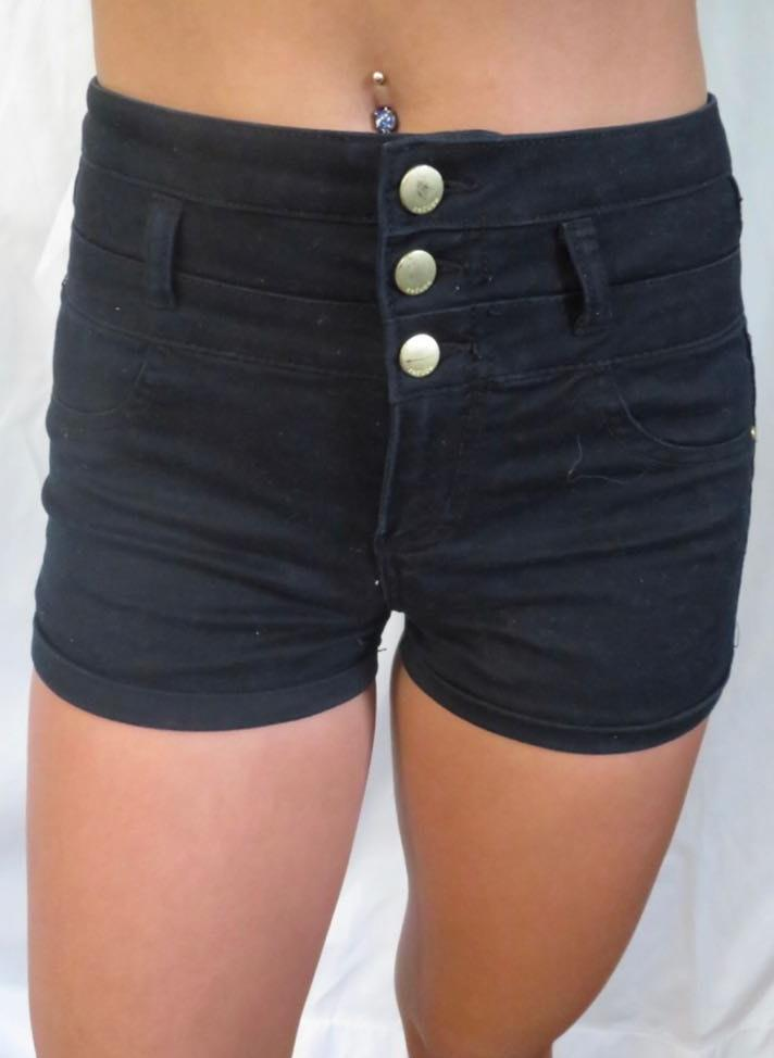 Refuge Black 3 Button High Waisted Shorts