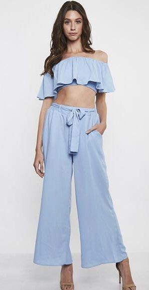 Boutique Sky Blue Two Piece Pant Set