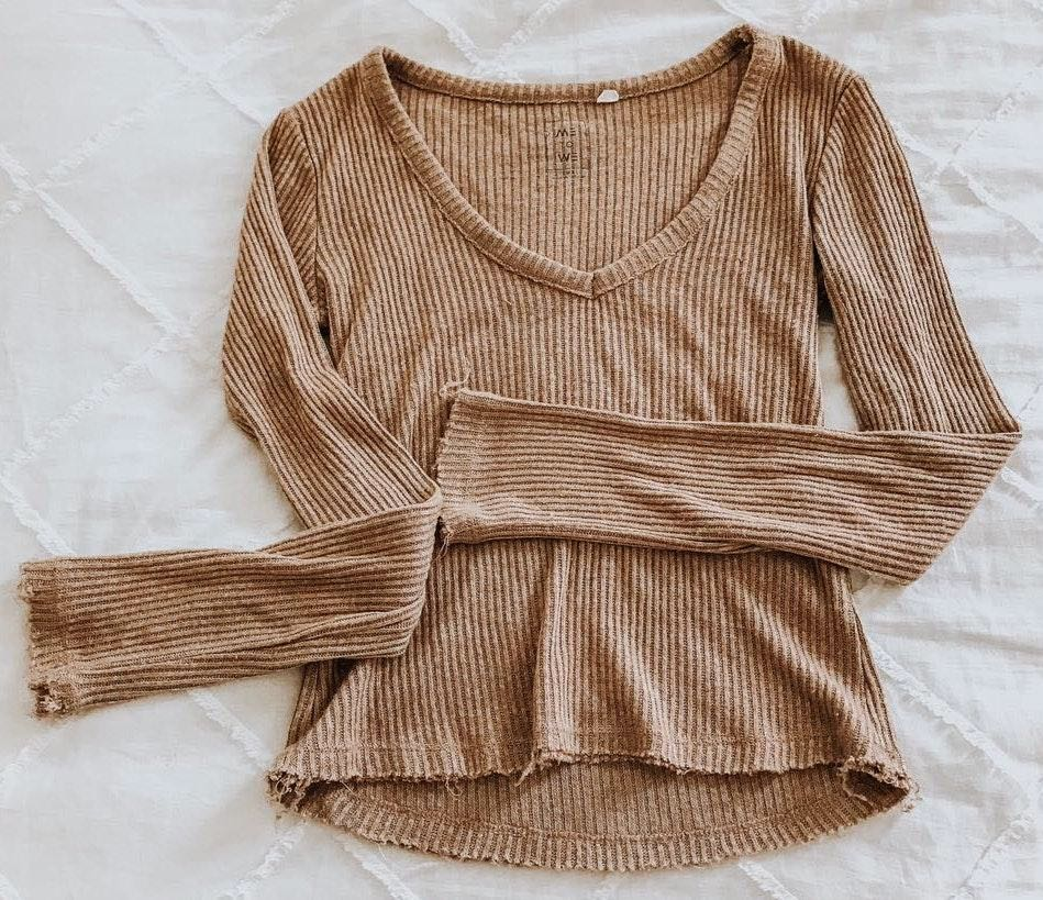 Pacsun Tan Cropped Ribbed Long Sleeve