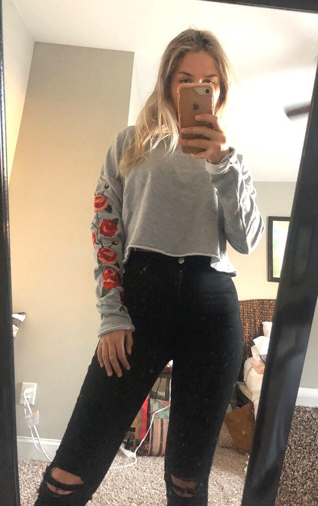 Honey Punch Gray Embroidered Sweater