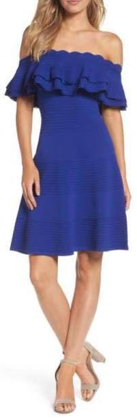 Eliza J Off Shoulder Fit And Flare Dress