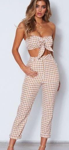 White Fox Boutique Checked Pants Set
