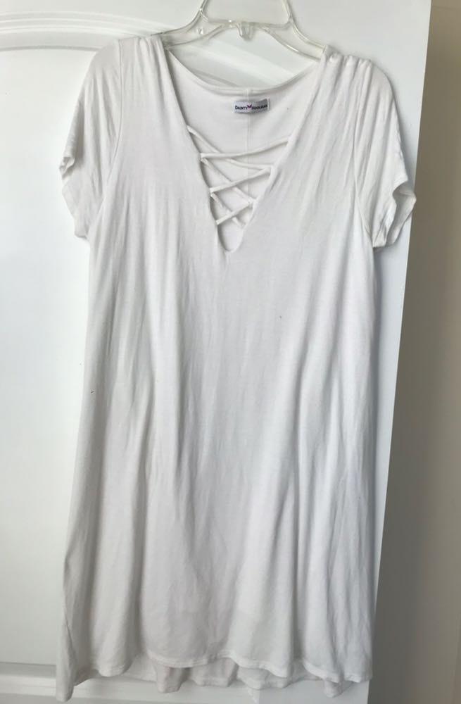 Dainty Hooligan White Cross Tee Dress