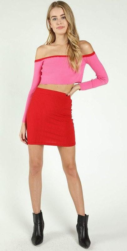 Honey Punch Red Knot Bodycon Skirt