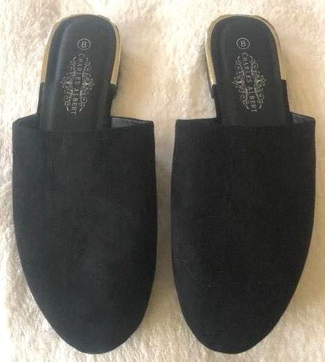 Black Suede Slides