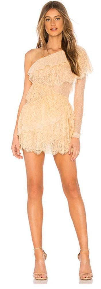 House of Harlow nude one shoulder dress