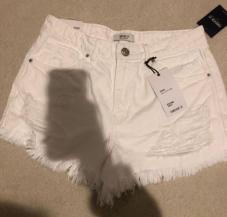 Forever 21 Never Worn Before White Jean Shorts
