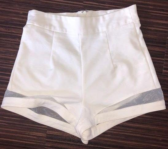 Tobi High Waisted White Mesh Shorts