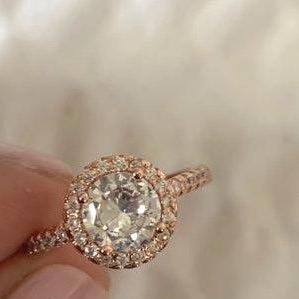 Australian Crystal Round Stone Ring Dipped In RoseGold...