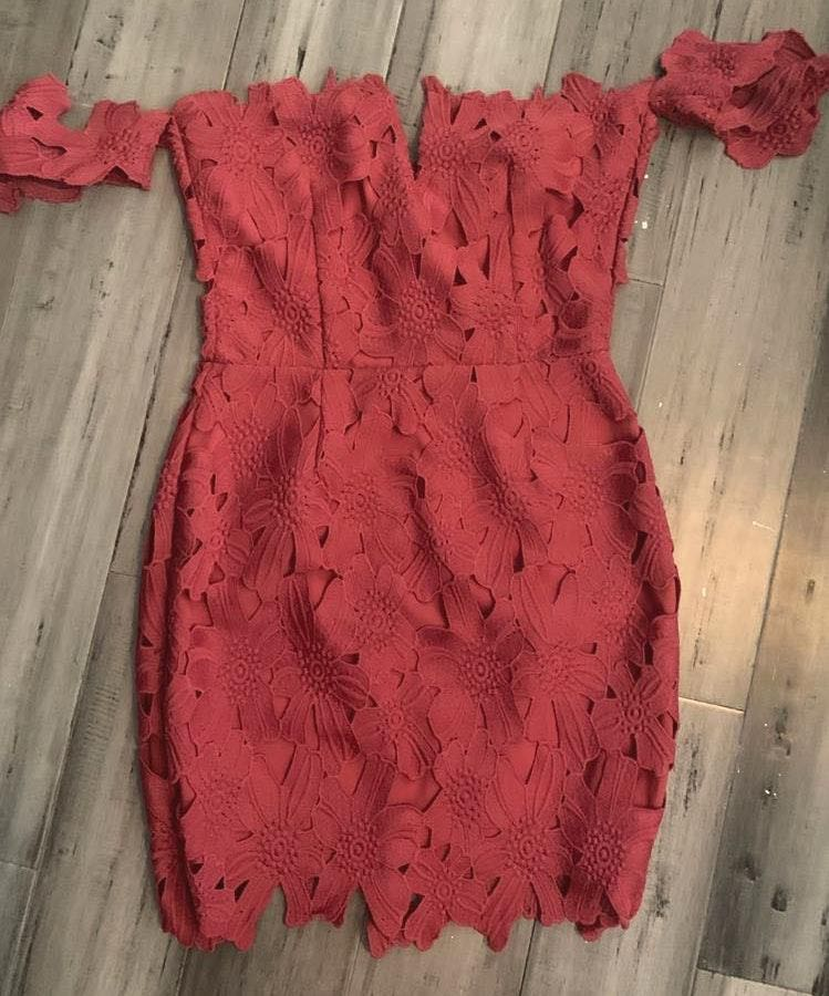 Free People Red Floral Dahlia  Dress