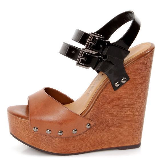Chinese Laundry Jungle Gym Cognac and Black Platform Wedges