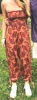 Urban Outfitters Orange/Red Floral Print Strapless Jumpsuit