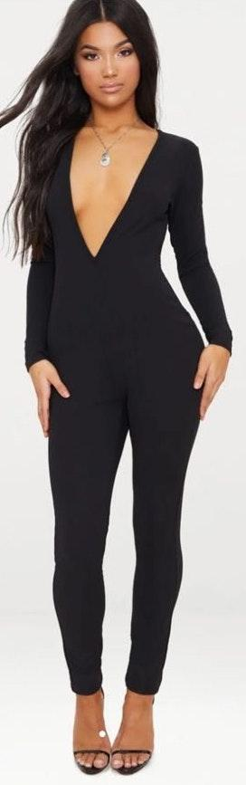Pretty Little Thing Black Crepe Plunge Long Sleeve Jumpsuit