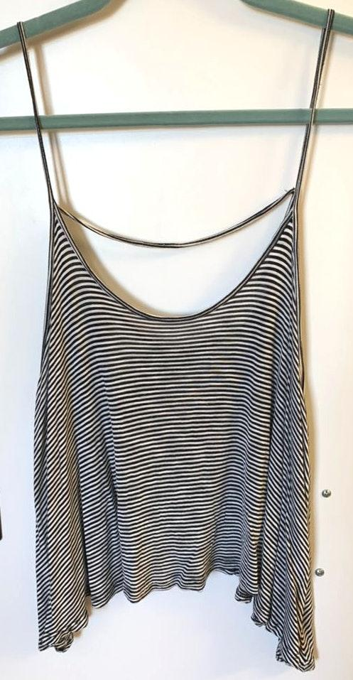 Lush Clothing Black And White Striped Tank Top