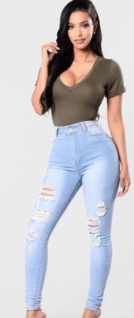 Fashion Nova Blue Skinny Jeans