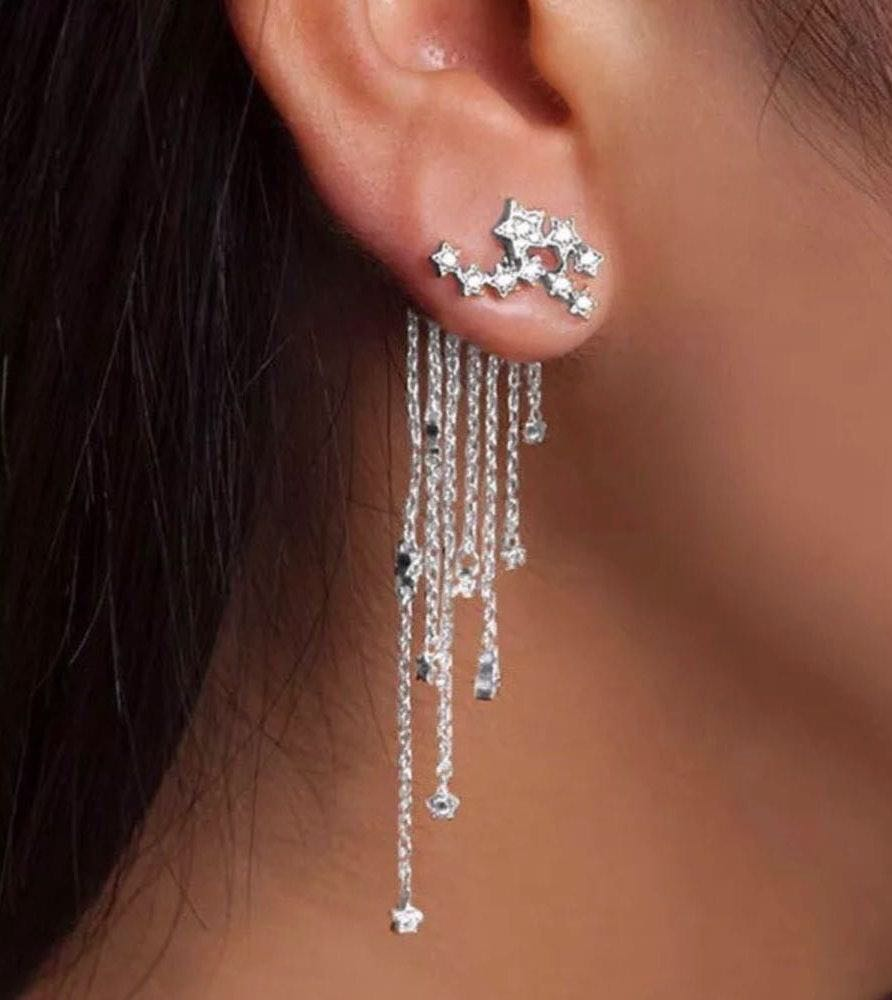 Elegant Multi Crystal Chains Stars Drop Dangle Earrings