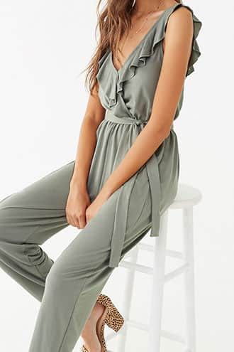 Forever 21 Ruffled Green Jumpsuit