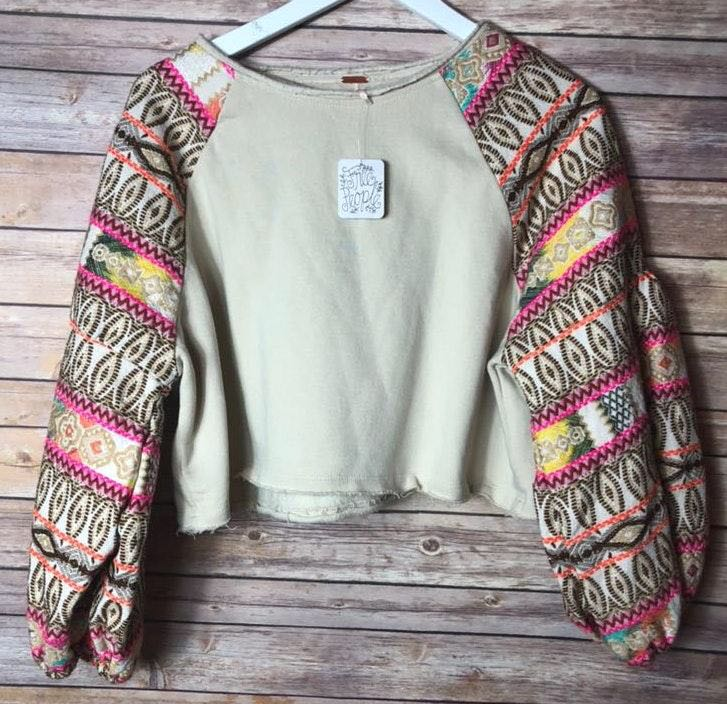 Free People Embroidered Sleeve Pullover