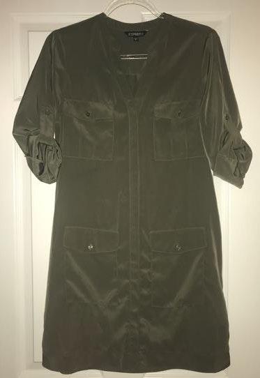 EXPRESS Olive Green Button Down Dress